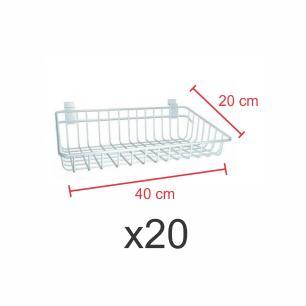 Kit com 20 Cestos para painel canaletado 20x40 cm branco