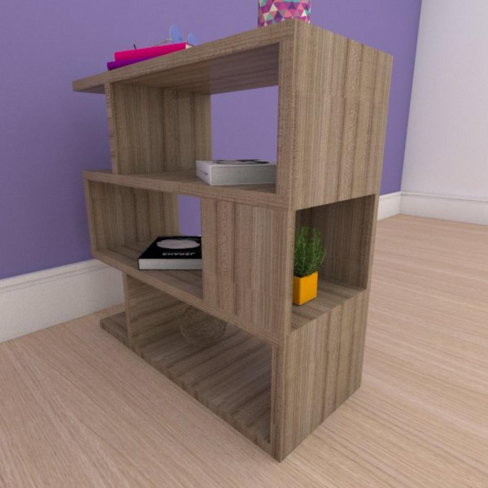 Mesa de cabeceira compacta tripla com nichos em mdf amadeirado