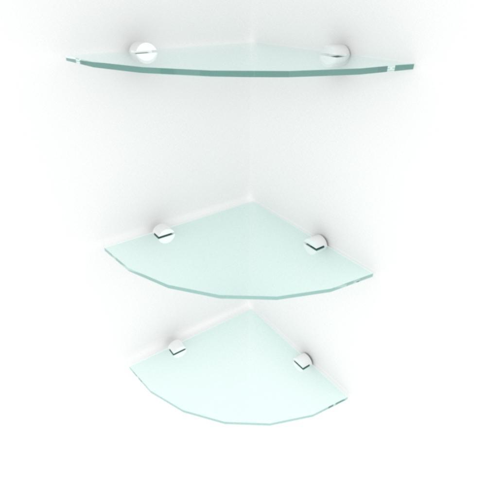 kit com 3 Prateleira para canto de vidro temperado para sala profundidade 20 cm