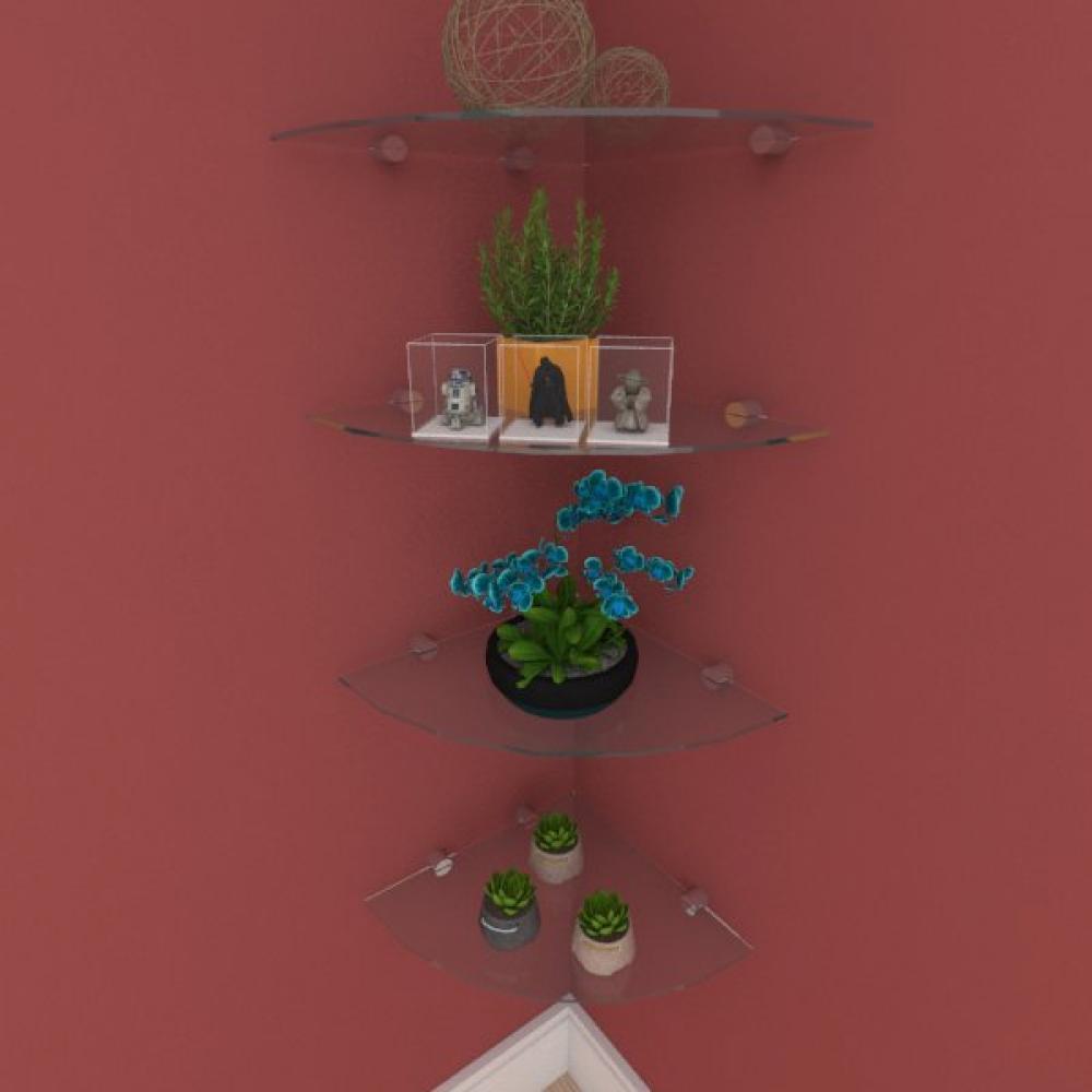 Kit com quatro Prateleira para escritório de canto 30 cm vidro temperado