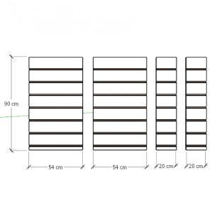 Kit 4 Painel canaletado para pilar cinza cristal 2 peças 54(L)x90(A) cm + 2 peças 20(L)x90(A) cm