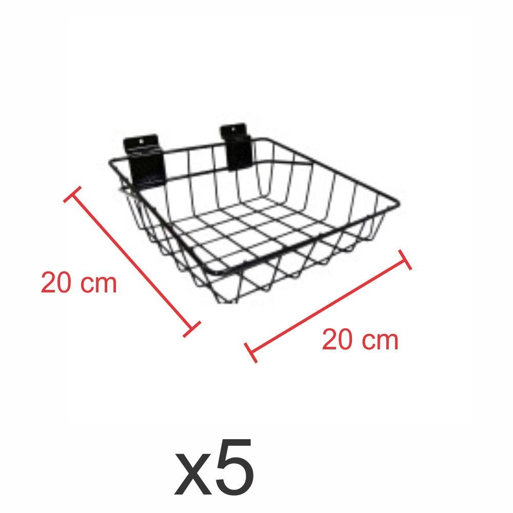 Pacote com 5 Cestos para painel canaletado 20x20 cm preto