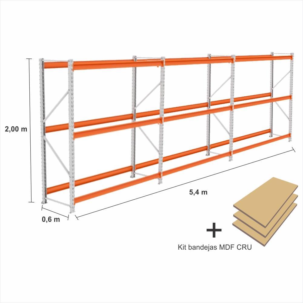 kit com 3 exp Mini Porta Pallet 1 inic + 2 cont 250KG Com 3 niveis 2,00X1,80X0,60 + kit bandeja CRU
