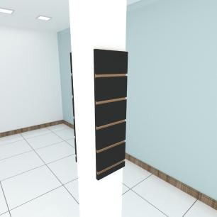 Kit 2 Painel canaletado para pilar preto 2 peças 20(L)x60(A)cm