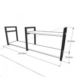 Mini estante industrial para escritório aço cor preto mdf 30cm cor amadeirado claro modelo ind07acep