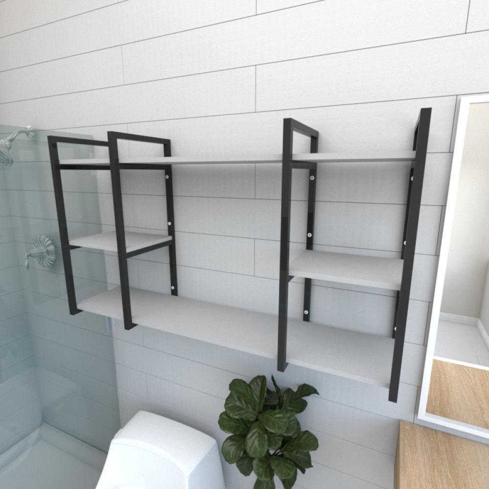Prateleira industrial para banheiro aço cor preto prateleiras 30cm cor cinza modelo ind17cb