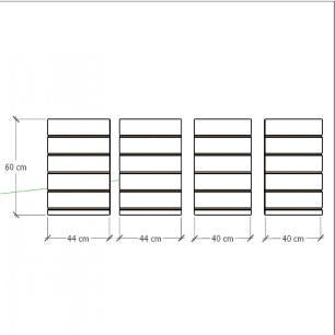Kit 4 Painel canaletado para pilar branco 2 peças 44(L)x60(A)cm + 2 peças 40(L)x60(A)cm