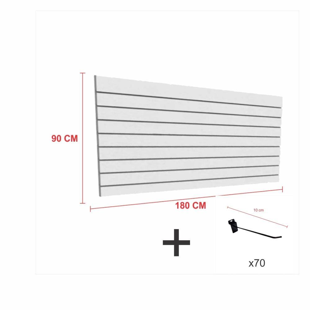 Kit Painel canaletado cinza alt 90 cm comp 180 cm mais 70 ganchos 10 cm