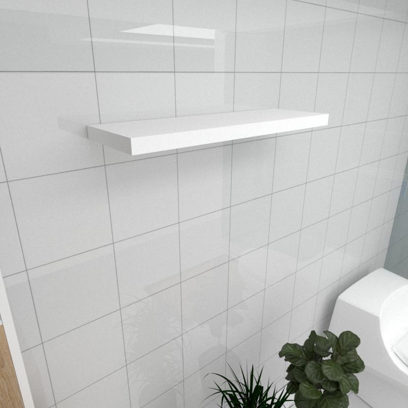 Prateleira para banheiro MDF suporte Inivisivel cor branco 60(C)x20(P)cm modelo pratbnb28