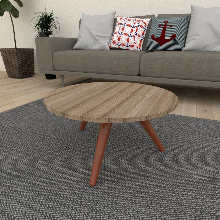 Mesa de Centro redonda em mdf amadeirado escuro com 3 pés inclinados em madeira maciça cor mogno