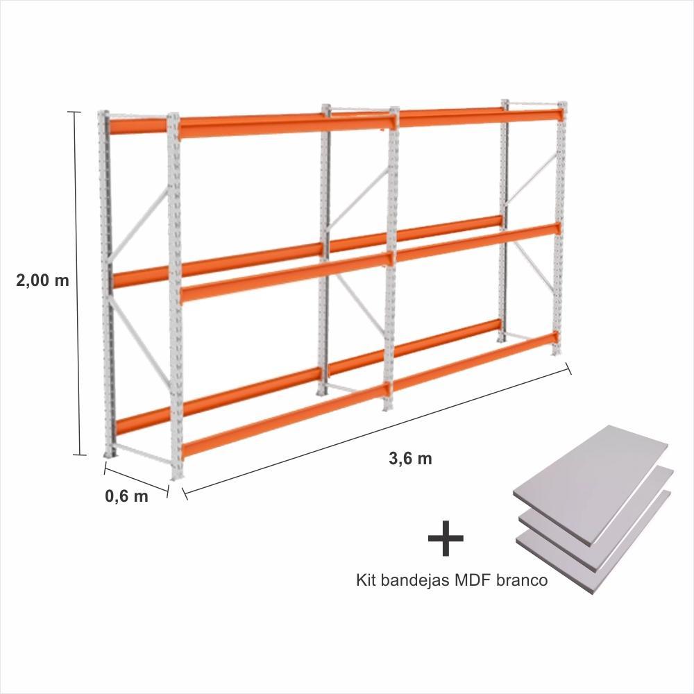 kit 2 exp Mini Porta Pallet 1 inic + 1 cont 250KG Com 3 niveis 2,00X1,80X0,60 + kit bandeja branco