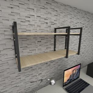 Prateleira industrial para escritório aço cor preto mdf 30 cm cor amadeirado claro modelo ind21aces