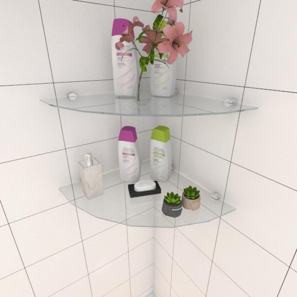 Kit com duas Prateleira para banheiro de canto 40 cm vidro temperado