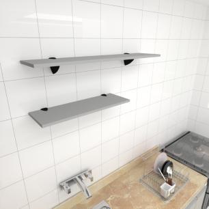 Kit 2 prateleiras cozinha em MDF suporte tucano cinza 1 60x20cm 1 90x20cm modelo pratcc17