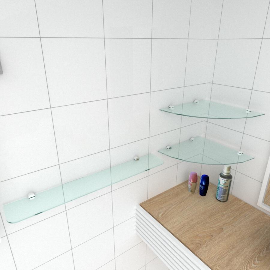 kit com 3 Prateleira de vidro temperado para banheiro 1 de 30 cm para canto e 2 de 60 cm reta