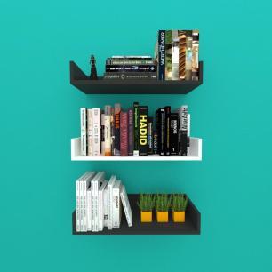 Estante de Livros nichos modernos, em mdf 50x20 preto com branco