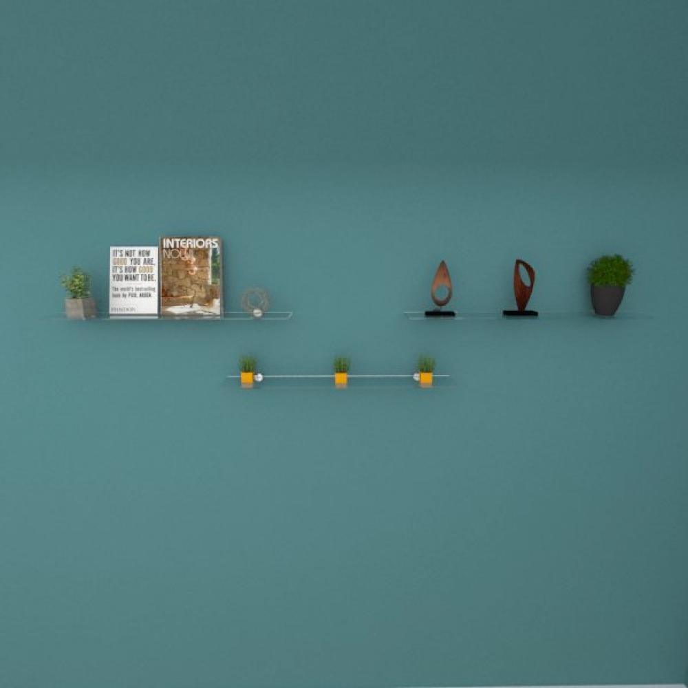 Kit com tres Prateleira para sala 60 cm vidro temperado