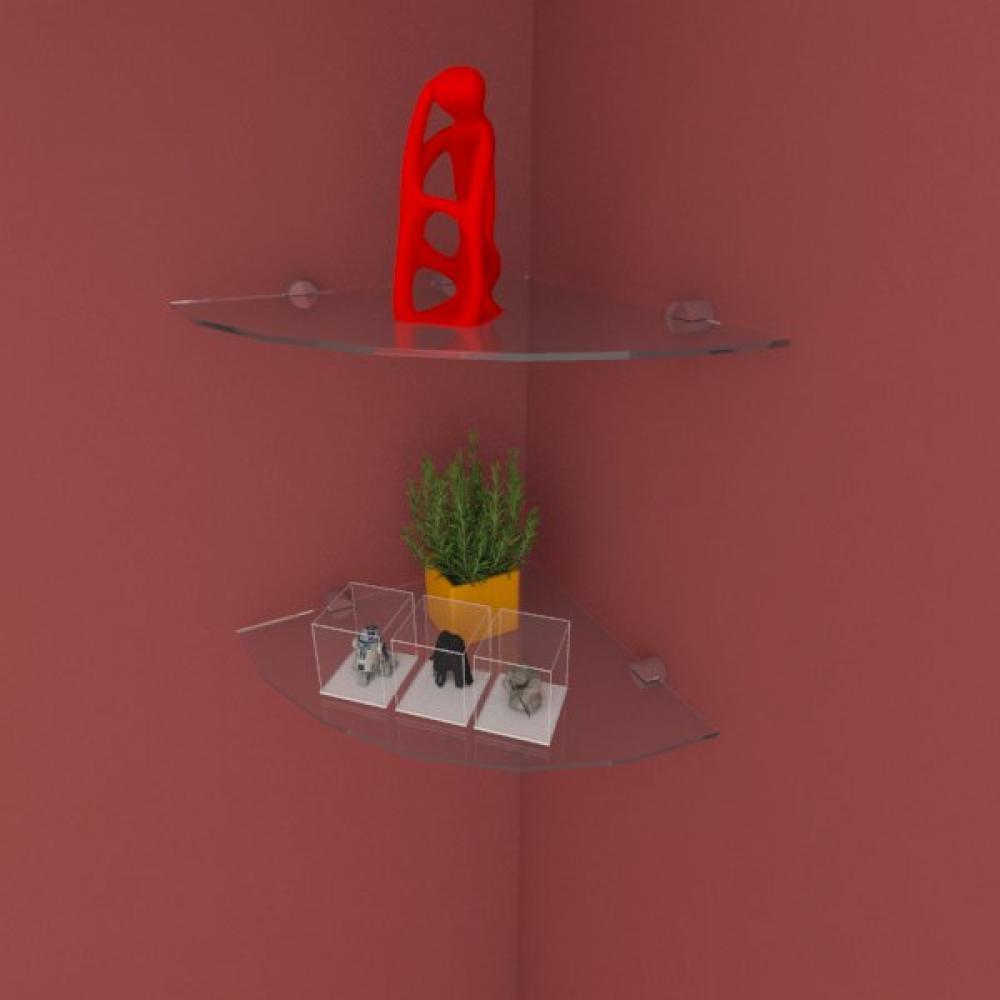 Kit com duas Prateleira para escritório de canto 30 cm vidro temperado
