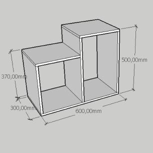 Mesa de cabeceira simples com 2 nicho em mdf preto