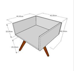 Mesa lateral minimalista em mdf cinza com 3 pés inclinados em madeira maciça cor mogno