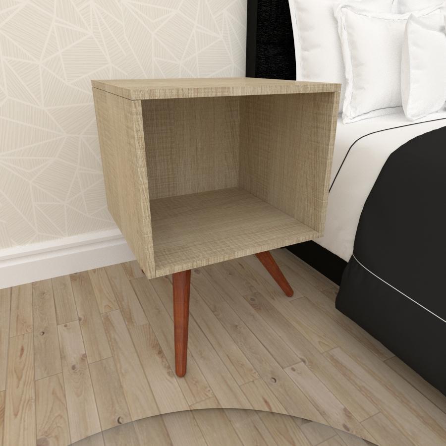 Mesa de Cabeceira moderna em mdf amadeirado claro com 3 pés inclinados em madeira maciça cor mogno