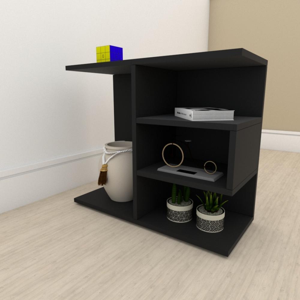 kit com 2 Mesa de cabeceira moderna com 3 niveis em mdf Preto