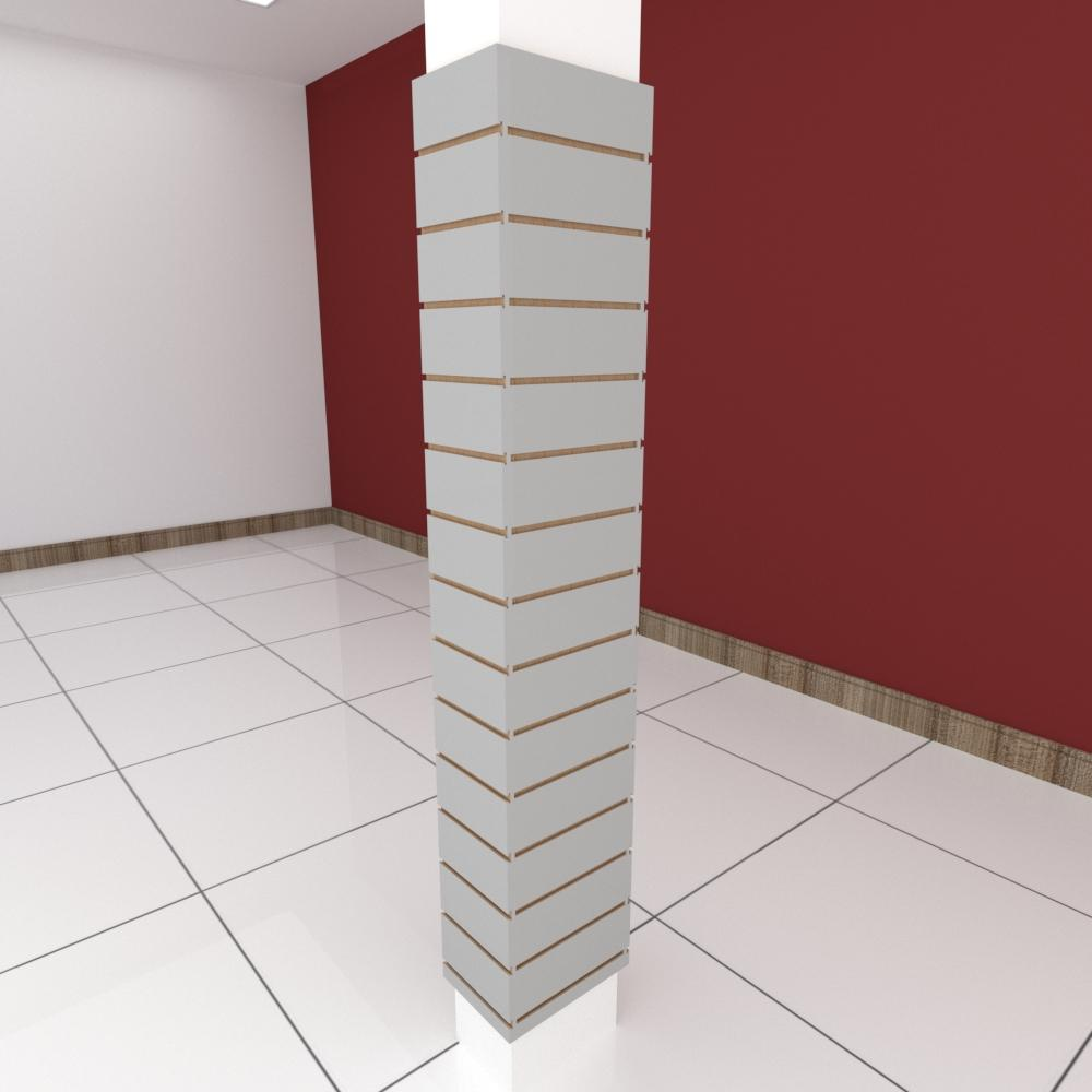 Kit 4 Painel canaletado para pilar cinza cristal 2 peças 24(L)x180(A)cm + 2 peças 30(L)x180(A)cm