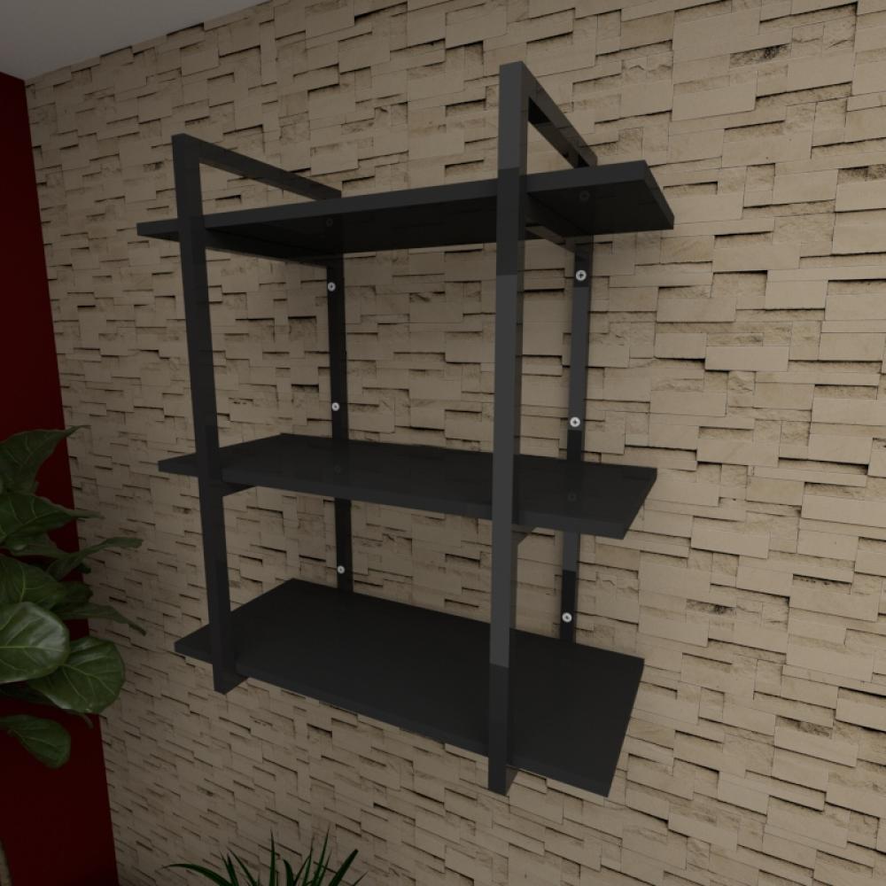 Prateleira industrial para escritório aço cor preto prateleiras 30 cm cor preto modelo ind09pes