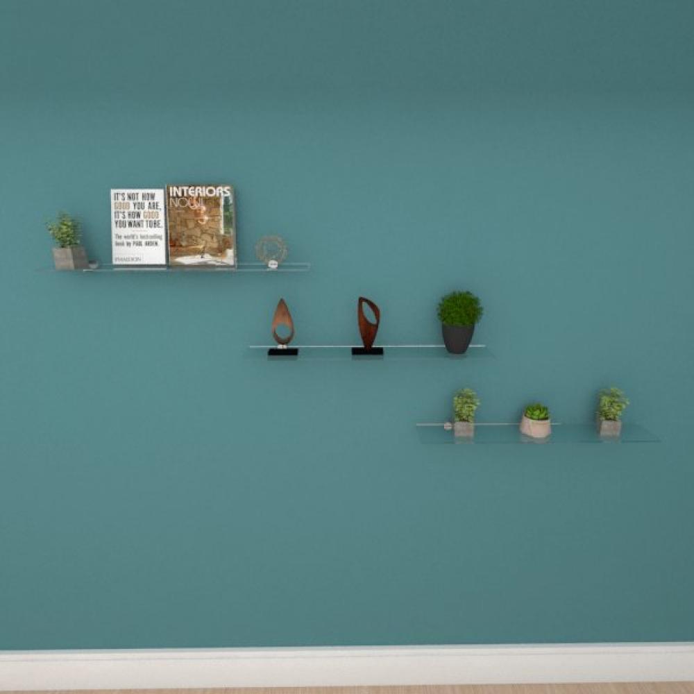 Kit com tres Prateleira para escritório 60 cm vidro temperado