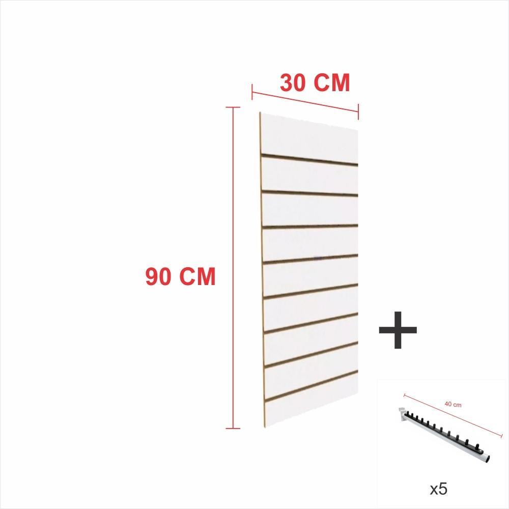 Kit Painel canaletado branco alt 90 cm comp 30 cm mais 5 ganchos rt 40 cm para roupas