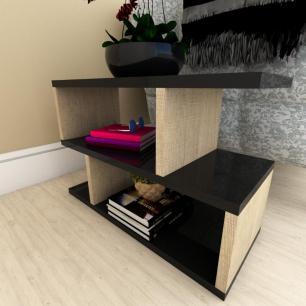 Mini estante para escritório moderna preto com amadeirado claro