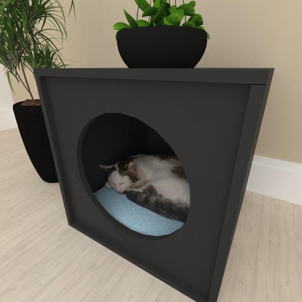 Mesa de cabeceira Casinha caminha para gato mdf preto