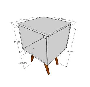 Mesa de Cabeceira moderna em mdf amadeirado claro com 4 pés inclinados em madeira maciça cor mogno