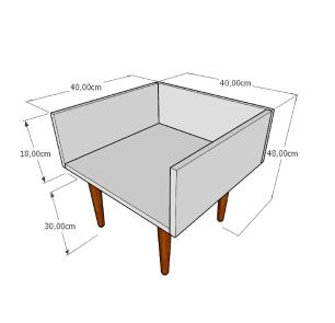 Mesa lateral minimalista em mdf branco com 4 pés retos em madeira maciça cor tabaco