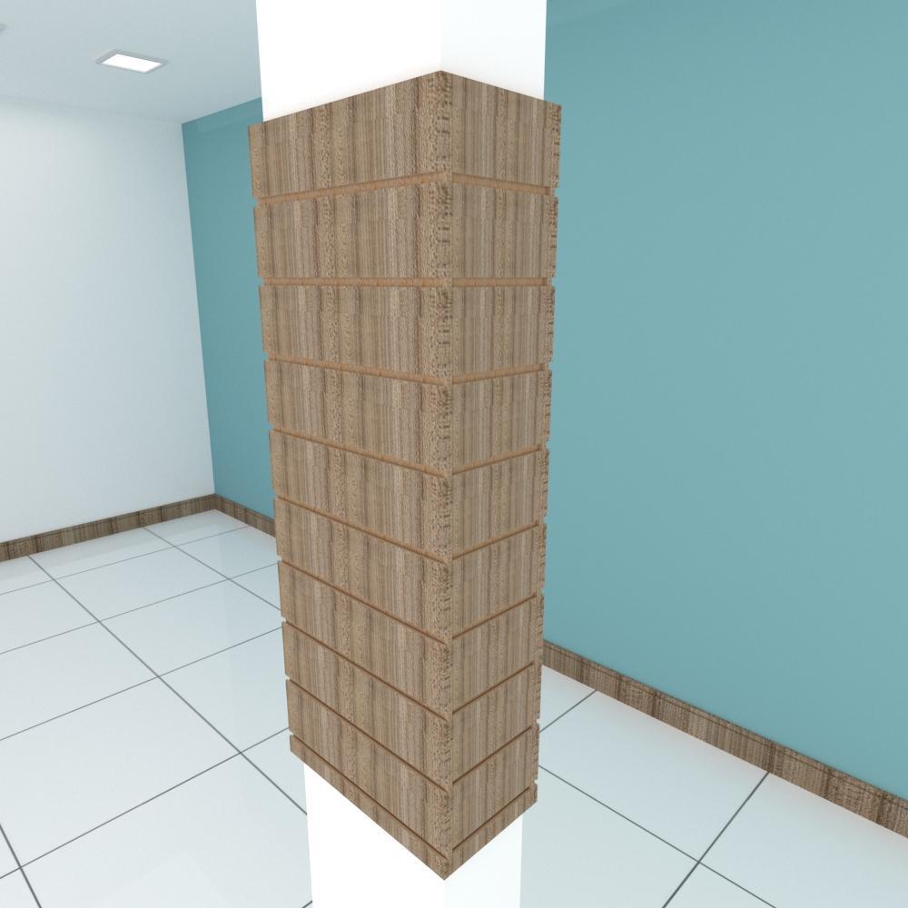 Kit 4 Painel canaletado para pilar amadeirado escuro 2 peças 44(L)x120(A)cm + 2 peças 20(L)x120(A)cm