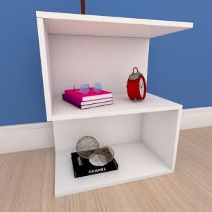 Mesa de cabeceira compacta em formato de S em mdf branco