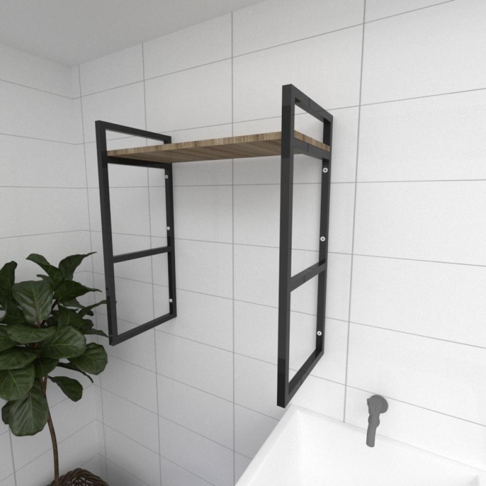 Prateleira industrial para lavanderia aço cor preto mdf 30cm cor amadeirado escuro modelo ind15aelav