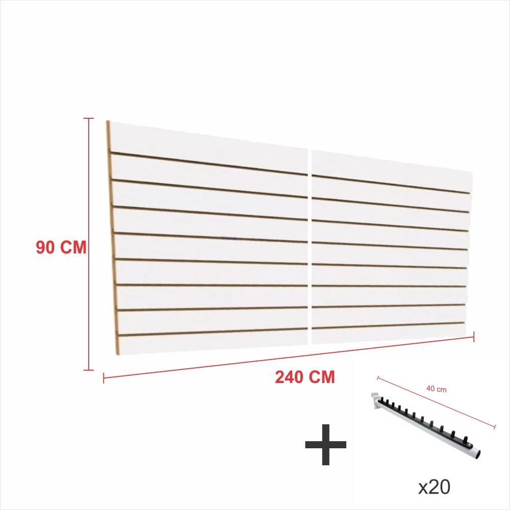 Expositor canaletado branco alt 90 cm comp 240 cm mais 20 ganchos rt 40 cm para roupas