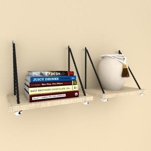 Kit com 2 Prateleiras moderna com cordas, mdf Amadeirado claro