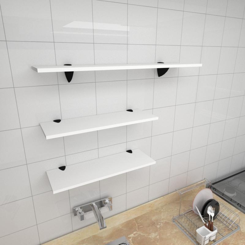 Kit 3 prateleiras cozinha em MDF suporte tucano branco 2 60x20cm 1 90x20cm modelo pratcb18