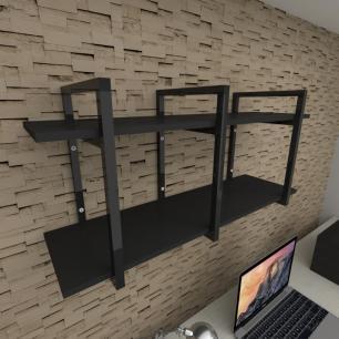 Prateleira industrial para escritório aço cor preto prateleiras 30cm cor preto modelo ind20pes