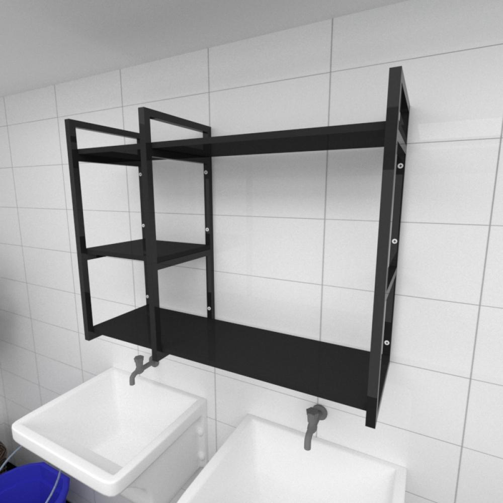 Prateleira industrial para lavanderia aço cor preto prateleiras 30cm cor preto modelo ind16plav