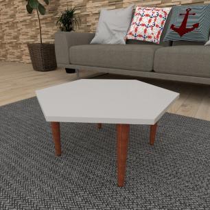 Mesa de Centro hexagonal em mdf cinza com 4 pés retos em madeira maciça cor mogno