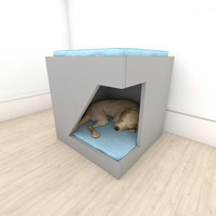 caminha bercinho para cachorro em mdf Cinza