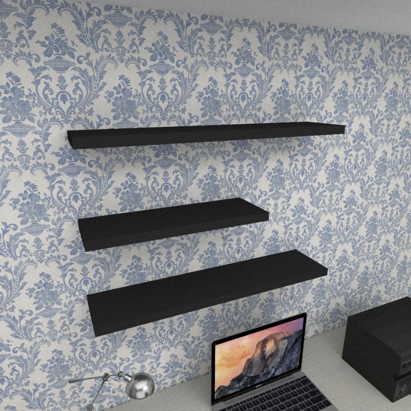 Kit 3 prateleiras escritório em MDF sup. Inivisivel preto 1 60x20cm 2 90x20cm modelo pratesp34