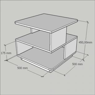 Mesa lateral sofá, mesa de canto Design, em mdf Amadeirado claro