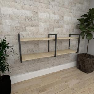 Mini estante industrial para escritório aço cor preto mdf 30cm cor amadeirado claro modelo ind04acep
