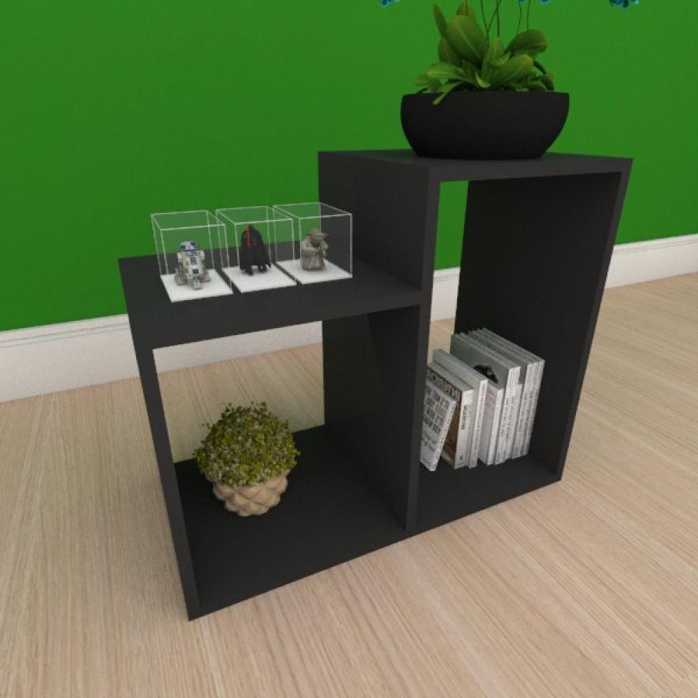 Mesa Lateral simples com 2 nicho em mdf preto