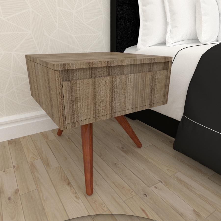 Mesa de Cabeceira com gaveta mdf amadeirado escuro com 3 pés inclinados em madeira maciça cor mogno
