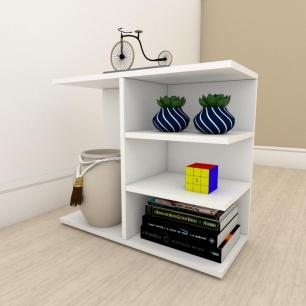 Estante para livros moderna com nicho em mdf Branco